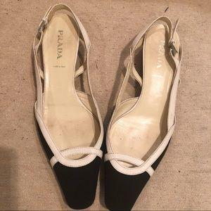 Prada Black & White Slingback Kitten Heels Shoes